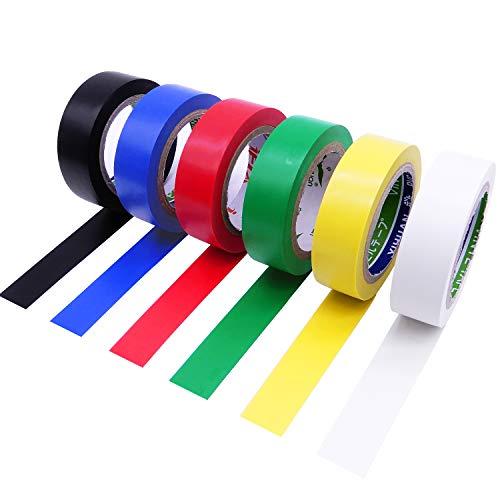 YtBUBOR Isolierband für elektrische Isolierung, 10 m x 17 mm, verschiedene Farben, 6 Stück