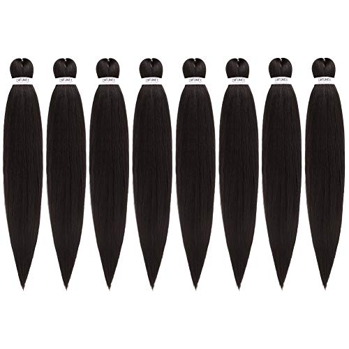 Pre-Stretched Braiding Hair Extensions 24 inch - 8 Packs Synthetic Crochet Braids, Natural Braid Crochet Hair, Hot Water Setting Professional Soft Yaki Texture (24 inch, #2)