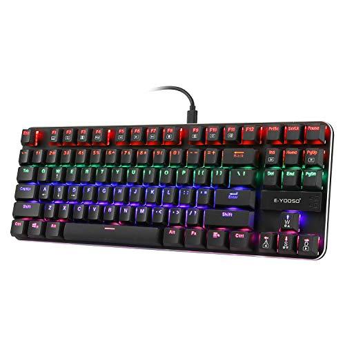 Teclado mecánico para juegos de perfil bajo, ultradelgado, botón azul con retroiluminación LED arcoíris, panel de aluminio TKL 87 teclas (disposición de EE.UU.) teclado para PC Gamer Typist