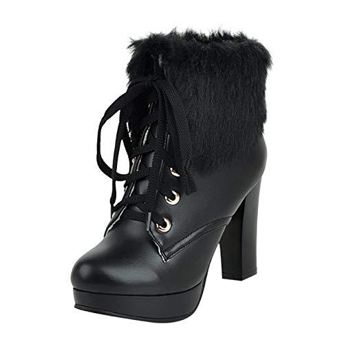 WWricotta Damen Stiefeletten Chelsea Boots mit Blockabsatz Profilsohle Kurzschaft Stiefel Freizeitschuhe High Heels Plüsch Stiefel Ankle Boots