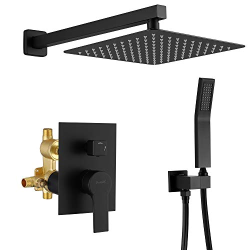 SHAMANDA Luxury Shower Set, Bathroom Single Handle Shower Faucet with Trim Valve Body Hand Shower Complete Kit, Premium Matte Black Rainfall Shower System, L70001-7