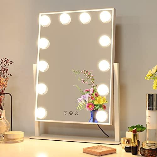 Meidom Hollywood Spiegel mit Beleuchtung, L35.5cm *H47cm, 12 Dimmbare LED, 3 Farbe Licht Umwandlung, 360° Drehbar Schminkspiegel mit Licht - Weiß