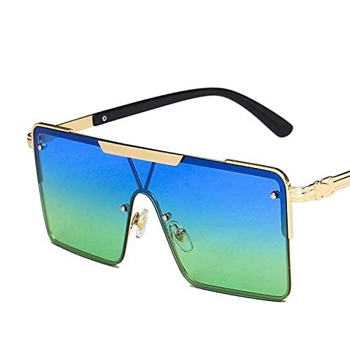 YHKF Gafas De Sol Cuadradas De Gran Tamaño para Mujer, Retro, con Parte Superior Plana, Gradiente, Gafas De Sol para Mujer, Vintage Uv400-Blue_Green