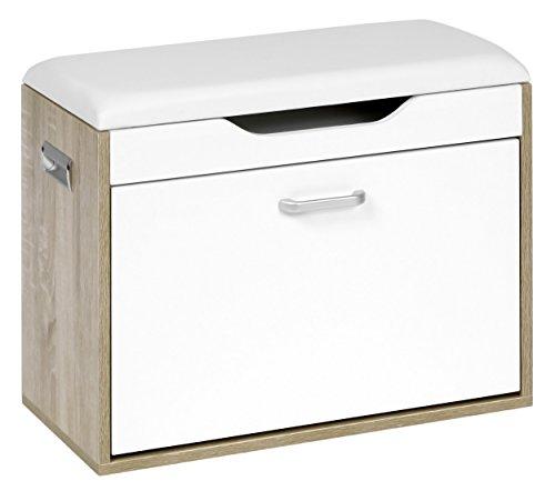 Ts-ideen–Zapatero con banco, asiento acolchado, para vestíbulo, roble blanco, armario zapatero, armario de almacenaje