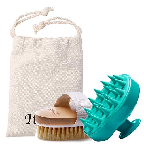 Shampoo-Bürsten-Set, 2 x Haarbürste, Silikon, Kopfhaut-Massagegerät und trockene Haut, Peeling, verbessert die Durchblutung für den täglichen Gebrauch oder als Geschenk