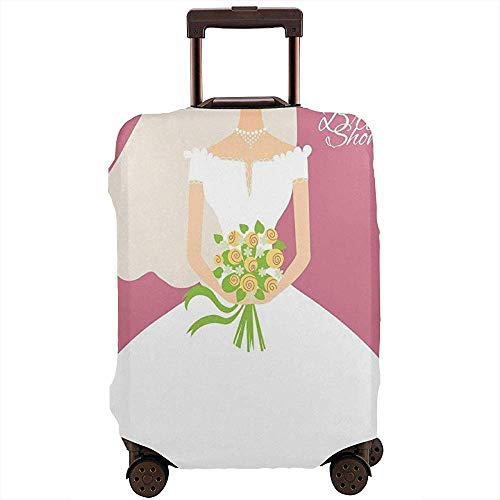 Travel Luggage Cover Wedding Day Celebration Bride with White Dress and Flowers Suitcase Protector Size L