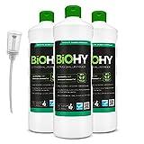 BiOHY Detergente a ultrasuoni (3 bottiglie da 1l) + Distributore | Pulizia intensiva e delicata di occhiali, prodotti dentali, oro, monete e gioielli (Ultraschallreiniger)