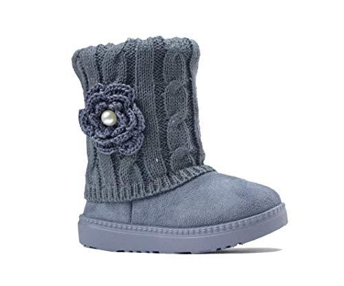 REDVOLUTION Kid Boots Toddler Girls Cute Flower Suede Knitting Snow Boot || 325 (Small Kid 12 B(M), Grey)
