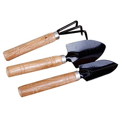 ANSUG Juego de Herramientas de jardinería, Herramienta para macetas de jardín de 3 Piezas con Mango de Madera Natural para Plantas de Interior, en macetas, suculentas (2 Pala pequeña + 1 rastrillo)