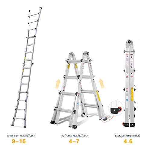 ORIENTOOLS Aluminum Extension Ladder with 300 lb Duty Rating (Load Capacity Type IA), Model 17-Foot Durable and Multi-Purpose Ladder with Two Wheels