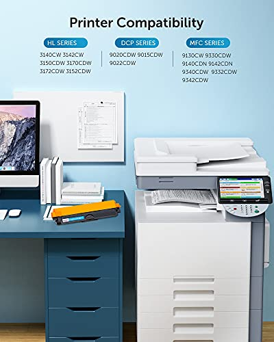 OfficeWorld Compatible Brother TN241 TN245 TN242 TN246 Cartucho de Tóner para Brother MFC-9330CDW 9340CDW 9140CDN, HL-3140CW 3150CDW 3170CDW 3172CDW, DCP-9015CDW 9020CDW (5 Paquetes)