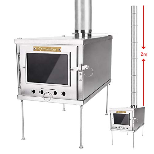 Thous Winds TW1008-A 薪ストーブ ストーブ 薪暖炉 と2mのチタン製煙突 軽量で組み立てが簡単で、キャンプやアウトドアに適しています