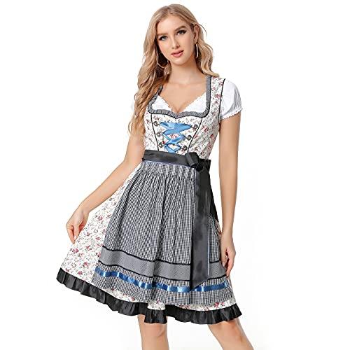 Vertvie Dirndl 3 Teilig Damen Trachtenkleid Dirndl Kleid Partykleider Bayerisches Oktoberfest Midikleider Cosplay Kostüm: Kleid,Bluse,Schürze für Karneval Halloween Baumwolle(B Rosa Schwarz,38)