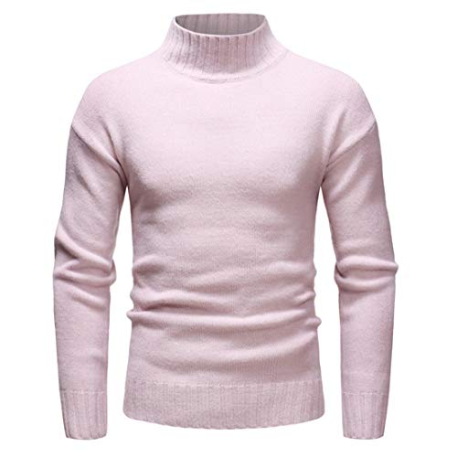 YINLAN Mens Casual Turtleneck Roll Neck Knitted Jumper Slim Fit Pullover Long Sleeve Sweater Top Mens Autumn Winter Stretch Cotton Solid Color Cashmere Blend Sweatshirt Sportwear Knitwear Knit Blosue