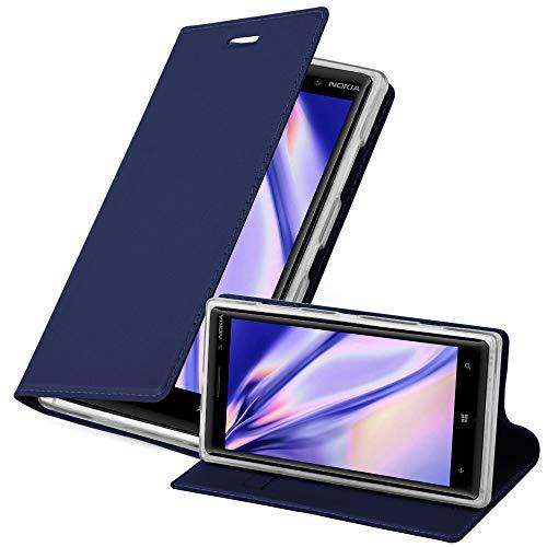 Cadorabo Hülle für Nokia Lumia 830 in Classy DUNKEL BLAU - Handyhülle mit Magnetverschluss, Standfunktion & Kartenfach - Hülle Cover Schutzhülle Etui Tasche Book Klapp Style