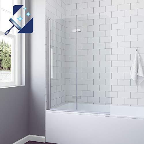 AQUABATOS® 100 x 140 cm Duschtrennwand für Badewanne Badewannenfaltwand Badewannenaufsatz chrom Dusche faltbar Duschwand Glas Faltwand aus 5 mm Einscheiben Sicherheitsglas Echtglas Nano Beschichtung