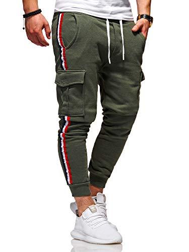 behype. Herren Lange Cargo Trainingshose Jogging-Hose Sport-Hose Stripe 60-8100 Khaki L