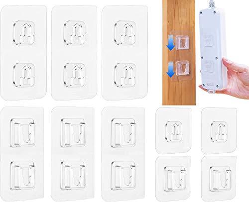 Ganchos adhesivos de pared de doble cara resistentes con ganchos autoadhesivos, ganchos de pared para organización, baño, cocina y oficina (6 piezas de un solo botón + 6 hebillas dobles)