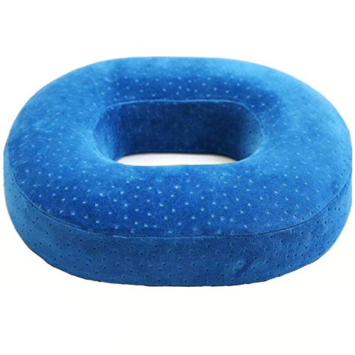 Orthopedic Ring Cushion Made From Memory Foam, Donut Cushion For Relief Of Haemorrhoids (Piles) And Coccyx Pain, Suitable For Wheelchair, Car Seat, Home Or Office, Blue