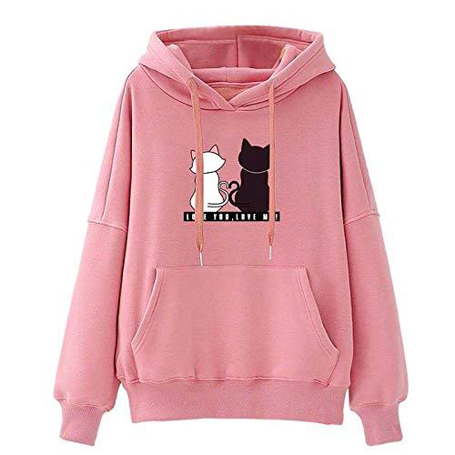 Women Hoodies Casual Sweatshirt Winter Ladies Baggy Cat Jumper Pullover Pink