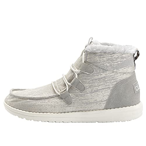 Hey Dude Women's Lea Fur Grey Size 8 | Women's Shoes | Women's Lace Up Boots | Comfortable & Light-Weight