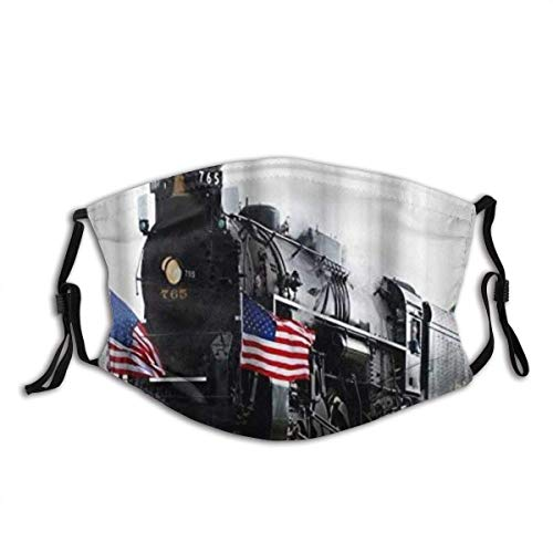 Decorative Face M_as&ks Cover Scarfs Steam Locomotive Train Iron Horse Theme Face Cover Cloth PolyesterReusable Mouth Bandana Neck Gaiter