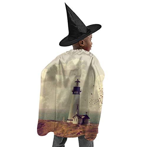 meilie Deluxe Halloween Kinder Kostüm Papageientaucher Leuchtturm Zauberer Hexenumhang Cape Robe und Hut Set