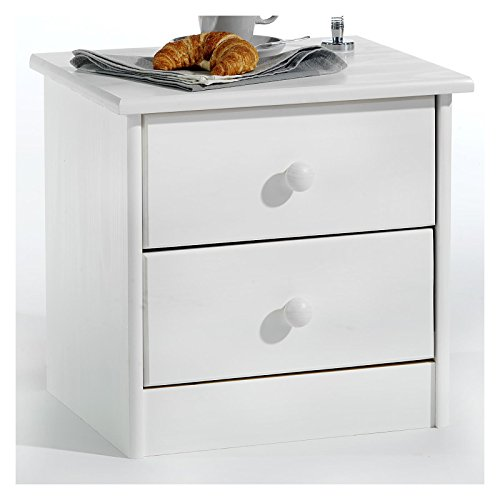 IDIMEX Nachtkommode Nachttisch Rondo, Kiefer massiv, weiß lackiert, 2 Schubladen