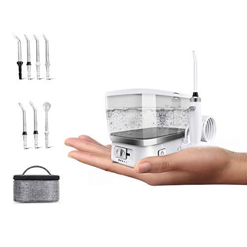 Munddusche Kabellos mit 5 Modi, Blusmart Elektrische Wasser Flosser und 500ML Wassertank, 7 Düsen, IPX7 Wasserdicht, USB Aufladen Zahnreiniger, 1 Tragetasche für Zuhause, Reisen