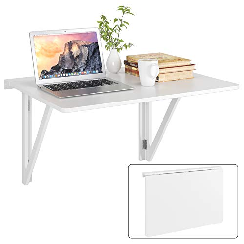 Homfa Wandtisch klappbar Klapptisch mit 2 Halterungen Wandklapptisch Esstisch Küchentisch Schreibtisch Computertisch Weiß Holz Wand Küche 80x60cm