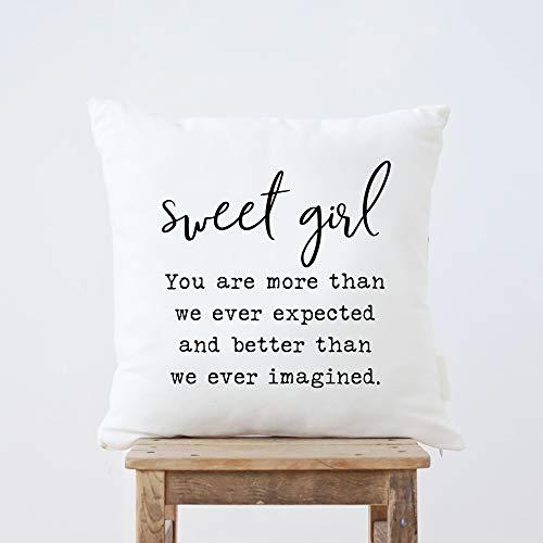 Funda de almohada para mamá y papá con texto en inglés 'Sweet Girl' You Are More Than We Ever Esperted - Funda de cojín para sofá cama