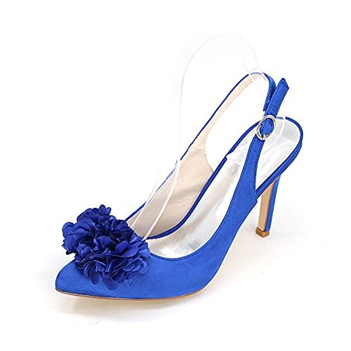 Zapatos De Boda Destalonados Sandalias De Tacón Alto para Mujer Cómodos Zapatos De Tacón De Aguja De Satén con Punta Puntiaguda Zapatos De Salón para Fiestas,Azul,39 EU