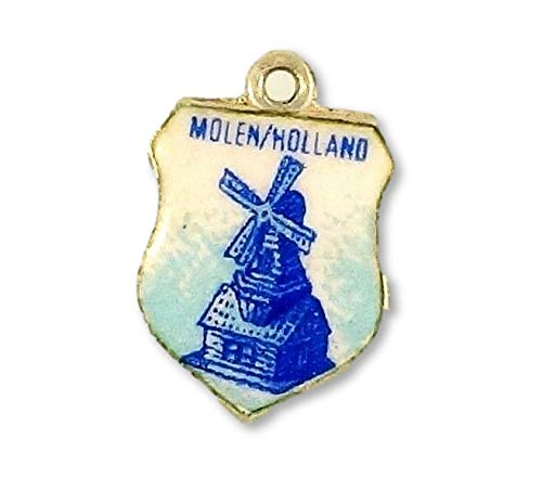 800 Zilveren Molen/Holland Plaats Schild Bedel (10x13mm)