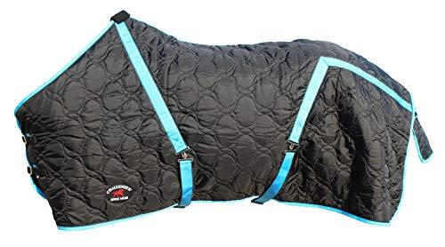 76' 600 Denier Winter Horse Coat Water Repellent Stable Blanket Black Turq 6902