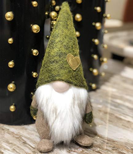 Christmas Green St Patrick's Day Handmade Gnome Plush Standing Figurine for Spring, Irish Gnome Elf Scandinavian Yule Santa Nisse, Nordic Elf Figurine Home Holiday Decoration Ornaments, Green Gnome