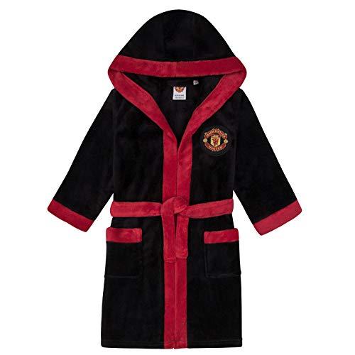 Manchester United FC - Jungen Fleece-Bademantel mit Kapuze - Offizielles Merchandise - Geschenk für Fußballfans - Schwarz - 11-12 Jahre