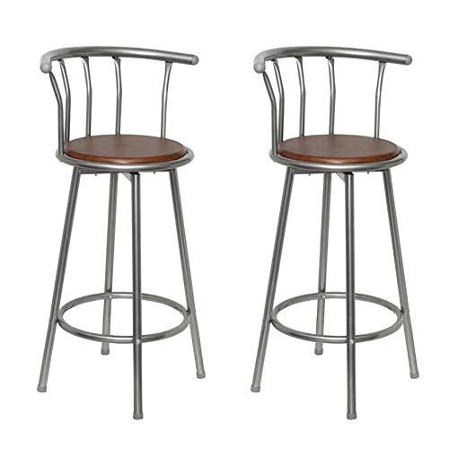 Set di 2 sgabelli da bar con schienale, sgabelli da bar da colazione, telaio in acciaio, stile industriale, per cucina, soggiorno, colore: marrone