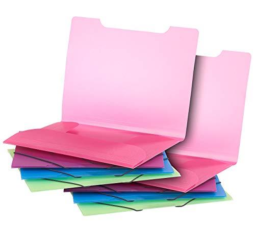 General Office Kunststoff-Mappen: 8er-Set Eckspanner-Einschlagmappen mit Gummizug, Kunststoff, 4 Farben (Orgamappen)