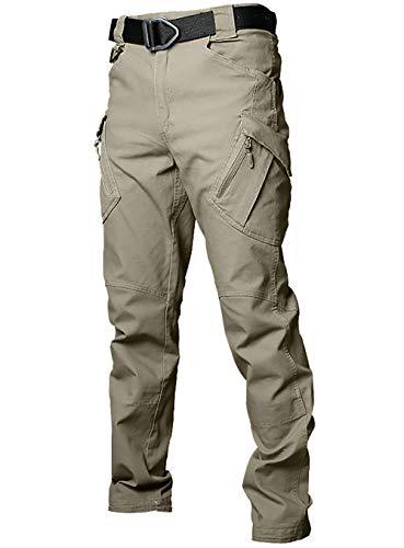 Gdtime Pantalones Cargo Hombres Algodón Largo al Aire Libre Pantalones Tácticos Militares Vintage Pantalones de Trabajo al Aire Libre con Muchos Bolsillos (Caqui, M)