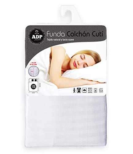 ADP Home - Funda de colchón Cutí con Cremallera L, 135x200+30 cm (para Cama de 135 cm), Blanco