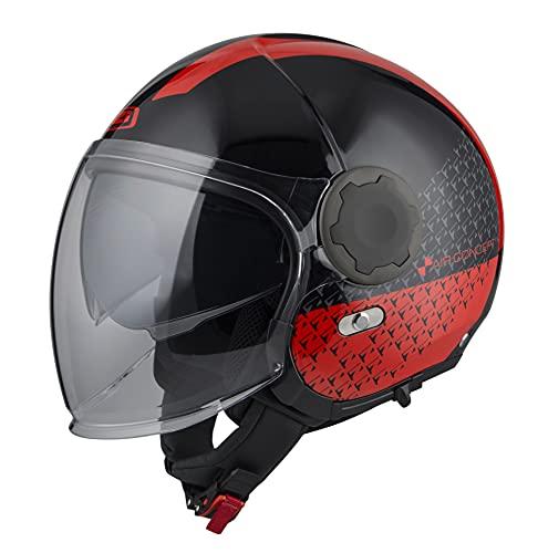 *NZI* - Casco Moto Jet Abierto con Pantalla Solar Interior RINGWAY Tallas XS a XXXL (Negro Rojo, L 59 cm.)