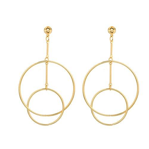 ROVNKD 1 par de pendientes para mujer, finos, redondos, grandes y grandes, con banda para colgar dorado Tallaúnica