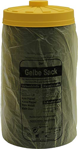 Sacktonne schwarz mit gelbem Deckel- für Gelber Sack Ständer Müllsackständer, Müllständer, Wertstoffbehälter