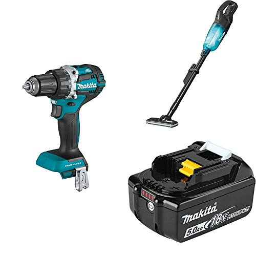 """Makita XFD12Z 18V LXT Compact Brushless 1/2"""" Driver-Drill, XLC03ZBX4 18V LXT Lithium-Ion Brushless Vacuum, Trigger w/Lock, & BL1850B 18V LXT Lithium-Ion 5.0Ah Battery"""