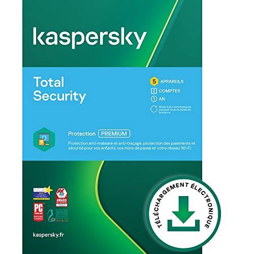 Kaspersky Total Security 2021 | 5 Appareils | 2 Comptes Utilisateurs | 1 An | PC / Mac / Android | Code d'activation – envoi par email