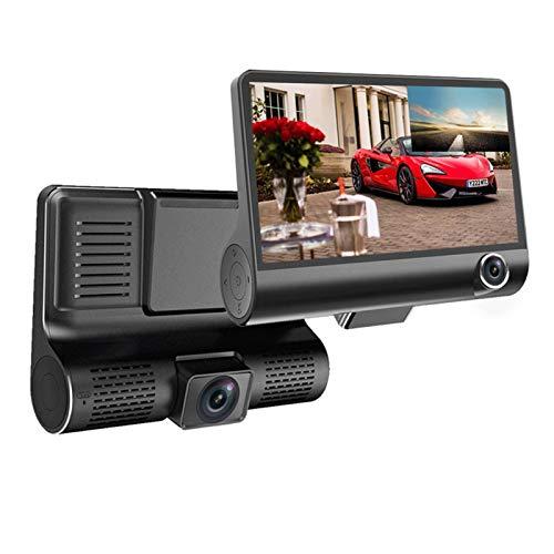 Cámara de Tablero 4 '' Cámara de Coche de Tres vías Tres Lentes Registrador de Video Dash CAM Video Grabador G-Sensor Auto Dashcam DVR Grabador de conducción (SD Card Memory : with 16G SD Card)