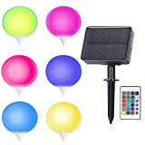 Luces solares para jardín, 16 colores RGB Luces solares para exteriores Luces LED impermeables para exteriores Luces solares para acampar, fiestas, césped, decoración de jardines (6 piezas)
