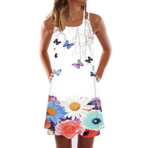 ReooLyMini Vestido Corto con Estampado de Playa sin Mangas de Verano Boho para Mujer