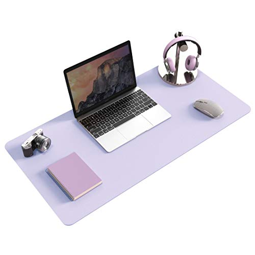 Non-Slip Desk pad,New Material Leather Desk Blotter Pad,Soft Surface Desk Mat,Easy Clean Laptop Desk Writing Mat for Office/Home (Grayish Lavender, 31.5' x 15.7')