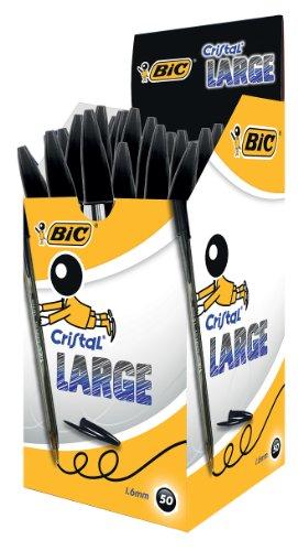 BIC Kugelschreiber Cristal Original Large, in Schwarz, Strichstärke 0,6 mm, 50er Pack, Ideal für das Büro, das Home Office oder die Schule